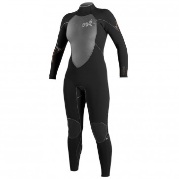 O'Neill Women's Psycho III 4/3 Back Zip Wetsuit - Black/Graphite/Persimmon