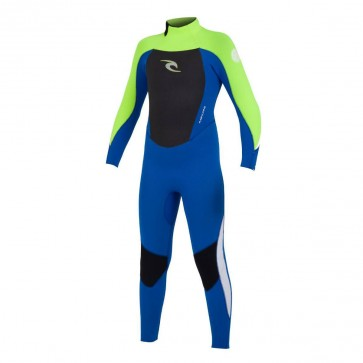 Rip Curl Youth Dawn Patrol 4/3 GB Back Zip Wetsuit - Blue/Yellow