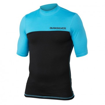 Quiksilver Wetsuits Chop Block Short Sleeve Rash Guard - Cyan Blue