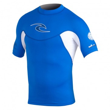 Rip Curl Wetsuits Bomb Short Sleeve Rash Guard - Blue