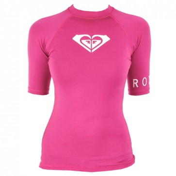 Roxy Women's Whole Hearted Short Sleeve Rash Guard - Pink