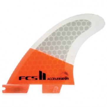 FCS II Fins Accelerator PC Large - Neon Orange/Clear Hex
