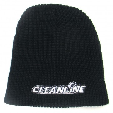 Cleanline Corp Logo Short Knit Beanie - Black/White