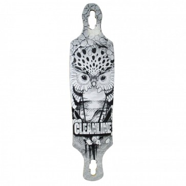 Cleanline Owl Drop Thru Longboard Deck - Black/White