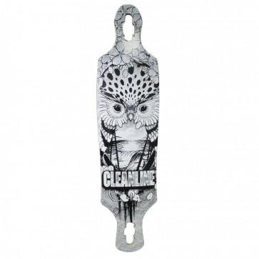 Cleanline Owl Drop Thru Longboard Deck - Black/White