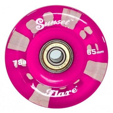 Sunset Skateboards - 65mm Flare Longboard LED Wheels - Pink