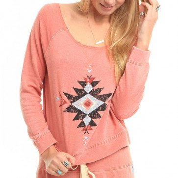 Billabong Women's All Over Fleece Pullover - Rustic Rose