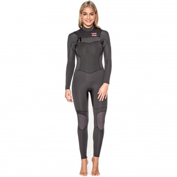 Billabong Women's Synergy 4/3 Chest Zip Wetsuit - Off Black