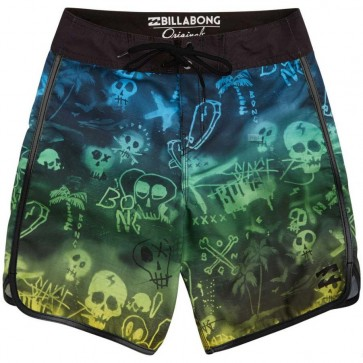 Billabong Youth Bad Billys Scallop Boardshorts - Neon Green