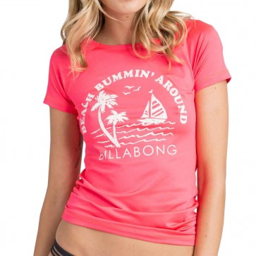 Billabong Women's Sol Searcher Rash Guard - Red Hot