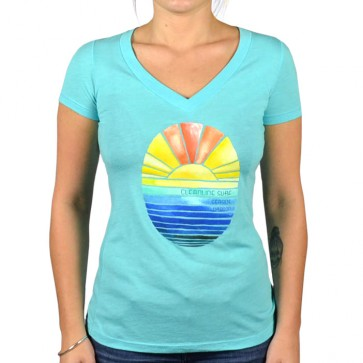 Cleanline Women's Golden Horizon Seaside V-Neck Top - Tahiti Blue