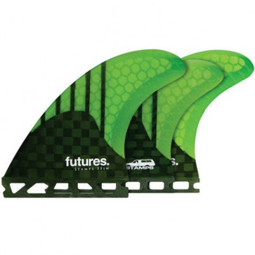 Futures Fins Stamps Generation Tri-Quad - Carbon/Neon Green