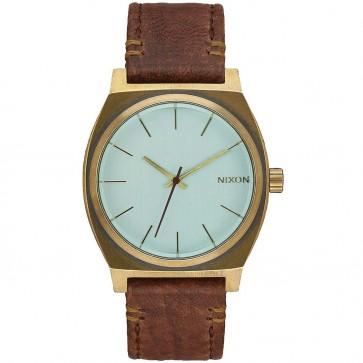 Nixon Time Teller Watch - Brass/Green Crystal/Brown
