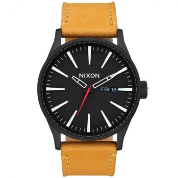 Nixon Sentry Leather Watch - All Black/Goldenrod