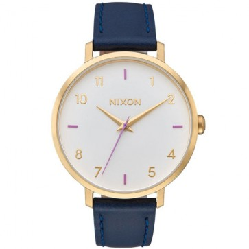Nixon Women's Arrow Leather Watch - Grey/Navy