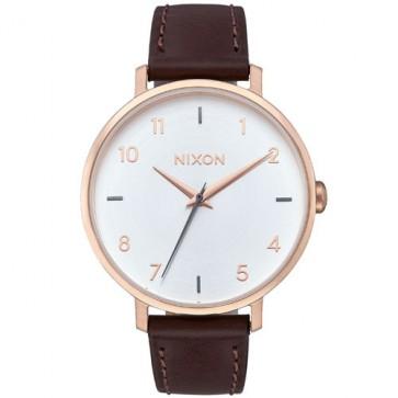 Nixon Women's Arrow Leather Watch - Rose Gold/Silver