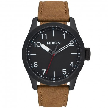 Nixon Safari Leather Watch - All Black/Surplus
