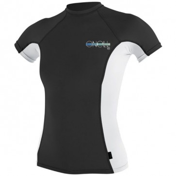O'Neill Wetsuits Women's Skins Short Sleeve Crew Rash Guard - Black/White