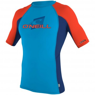 O'Neill Wetsuits Youth Skins Short Sleeve Crew - Sky/Navy/Neon Red