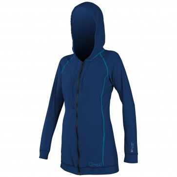 O'Neill Women's 24/7 Full Zip Long Sleeve Cover Up - Cobalt/Sky
