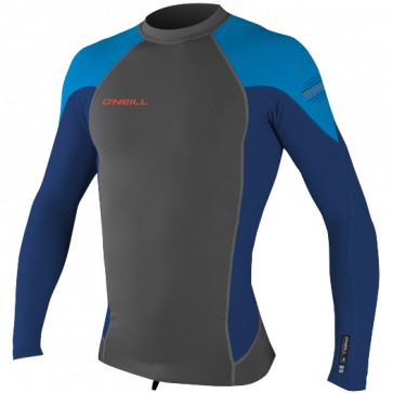 O'Neill Wetsuits HyperFreak Neo Skins Long Sleeve Rash Guard - Graphite/Navy/Bright Blue
