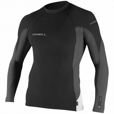 O'Neill Wetsuits Skins HyperFreak Long Sleeve Crew - Black/Graphite/White