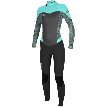 O'Neill Women's Flair 4/3 Wetsuit - Black/Maya/Seaglass