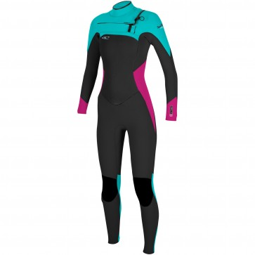 O'Neill Women's SuperFreak 3/2 Chest Zip Wetsuit - Black/Berry/Aqua