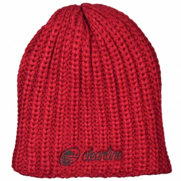Cleanline Cursive Fat Knit Beanie - Cardinal/Black