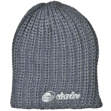 Cleanline Cursive Fat Knit Beanie - Charcoal/Grey