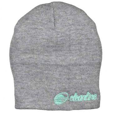 Cleanline Cursive Short Beanie - Heather Grey/Teal
