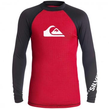 Quiksilver Wetsuits Youth All Time Long Sleeve Rash Guard - Red/Black