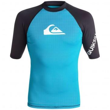 Quiksilver Wetsuits All Time Rash Guard - Hawaiian Ocean/Black