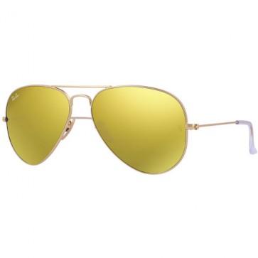 Ray-Ban Aviator Sunglasses - Matte Gold/Brown Mirror Gold
