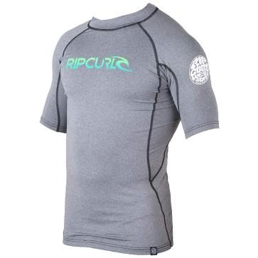 Rip Curl Wetsuits Corp Short Sleeve Rash Guard - Black Heather