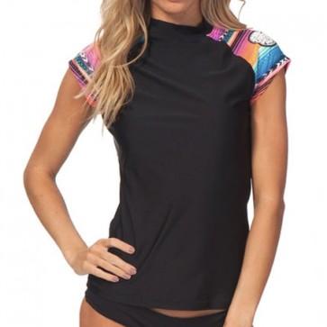 Rip Curl Wetsuits Women's Wetty Short Sleeve Rash Guard - Black
