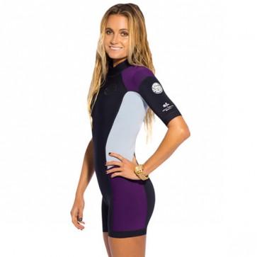 Rip Curl Women's Dawn Patrol S/S Spring Wetsuit - Black/Purple