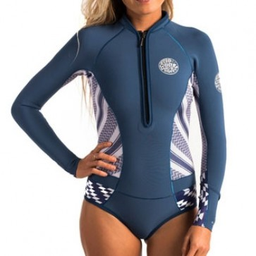 ip Curl Women's G-Bomb 1mm Bikini Cut Long Sleeve Spring Suit - Navy