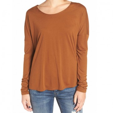 RVCA Women's Sutherland Long Sleeve Top - Bronze Amber