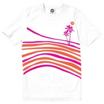 Roxy Wetsuits Youth Sun N Sea Short Sleeve Rash Guard - White