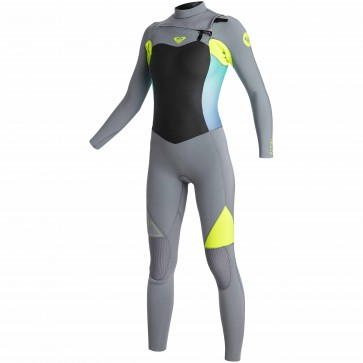 Roxy Women's Syncro 4/3 Chest Zip Wetsuit - Dark Grey/Lemon