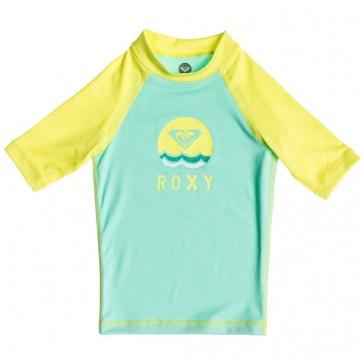 Roxy Wetsuits Toddler Sail Away Short Sleeve Rash Guard - Sea Foam/Limeade