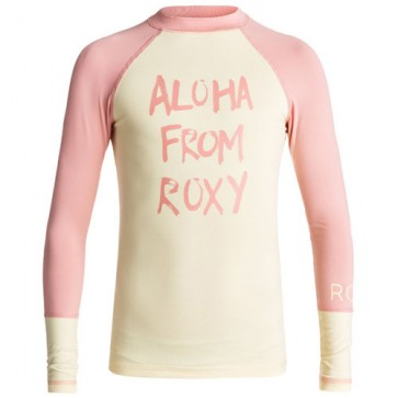 Roxy Youth Girls Sea Bound Long Sleeve Rash Guard - Double Cream