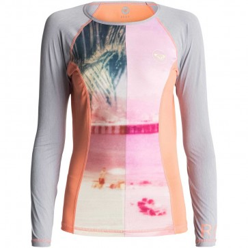 Roxy Women's Four Shores Long Sleeve Rash Guard - Sunkissed Coral/Heather Grey