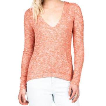 Volcom Women's Ready To Go V-Neck Sweater - Burnt Sienna