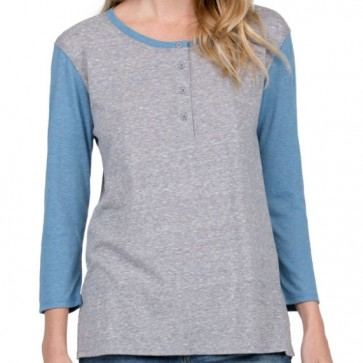 Volcom Women's Down Tha Block Henley - Heather Grey