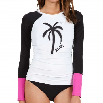 Volcom Women's Color Block Long Sleeve Rash Guard - White