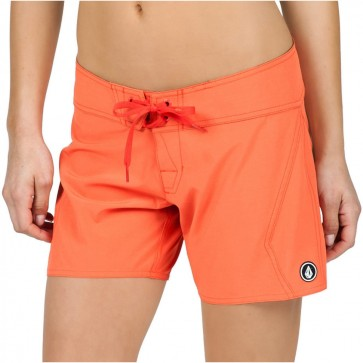 "Volcom Women's Simply Solid 5"" Boardshorts - Fire Red"