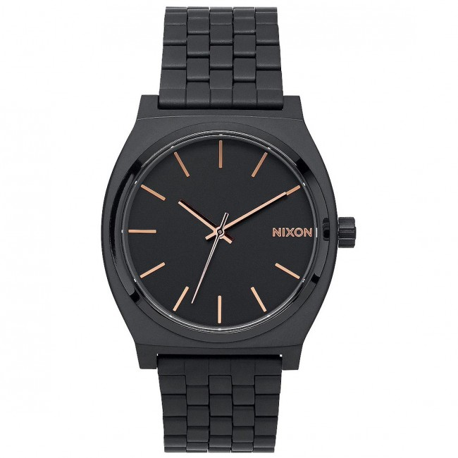 Nixon Watches The Time Teller - All Black/Rose Gold ...