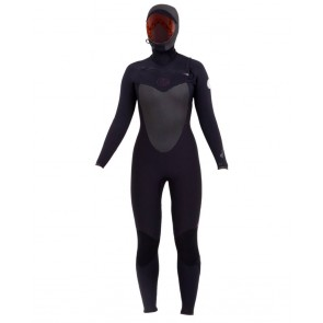 Rip Cur Women's Flash Bomb 5/4 Hooded Chest Zip Wetsuit - Back View